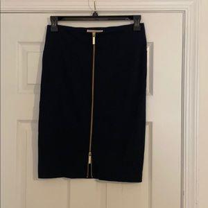 Navy Michael Kors Skirt with Gold Accent Zipper
